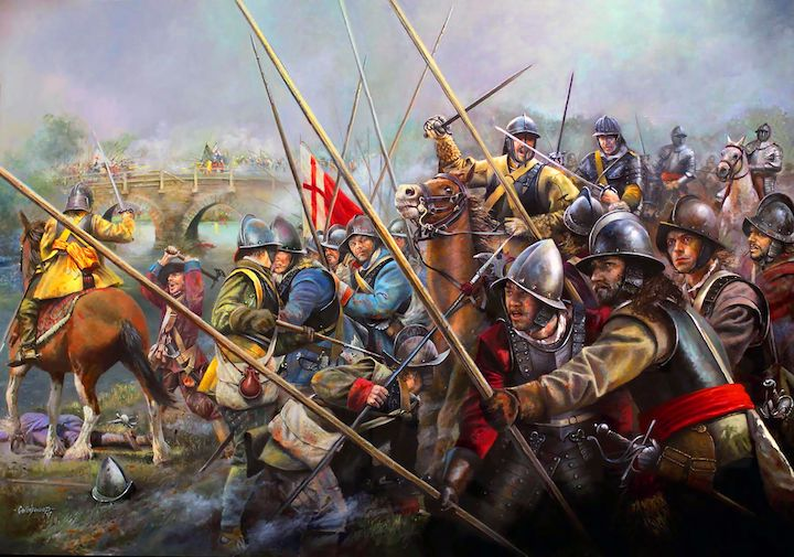 English Civil War by Chris Collingwood. The painting is not of Preston but gives an idea of the style of dress and the look of the Ribble bridge