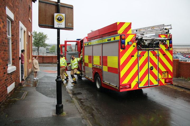 Lancashire Fire and Rescue Service attend the latest Garden Street flooding