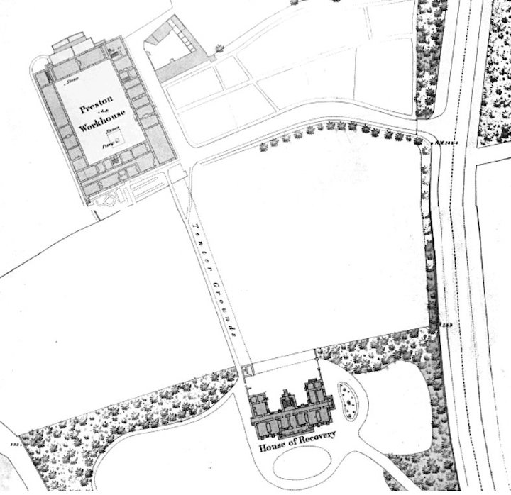 The original Preston Workhouse with the fever hospital at the bottom