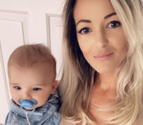 Emma James and baby Maxwell