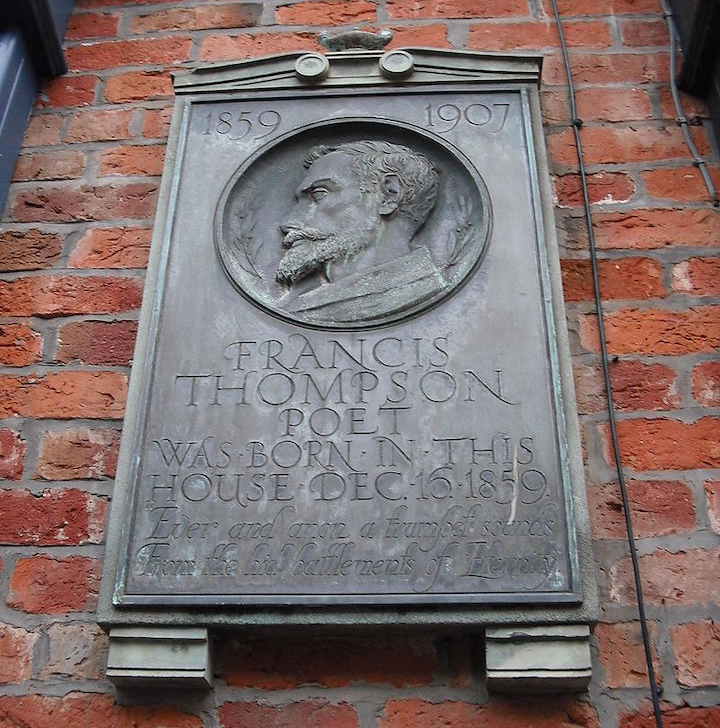 Francis Thompson memorial plaque in Winckley Street