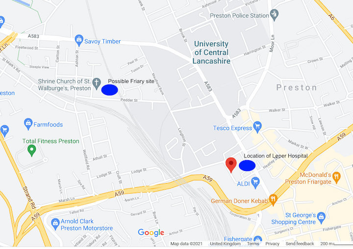 Friary and hospital sites in Preston Pic: Google