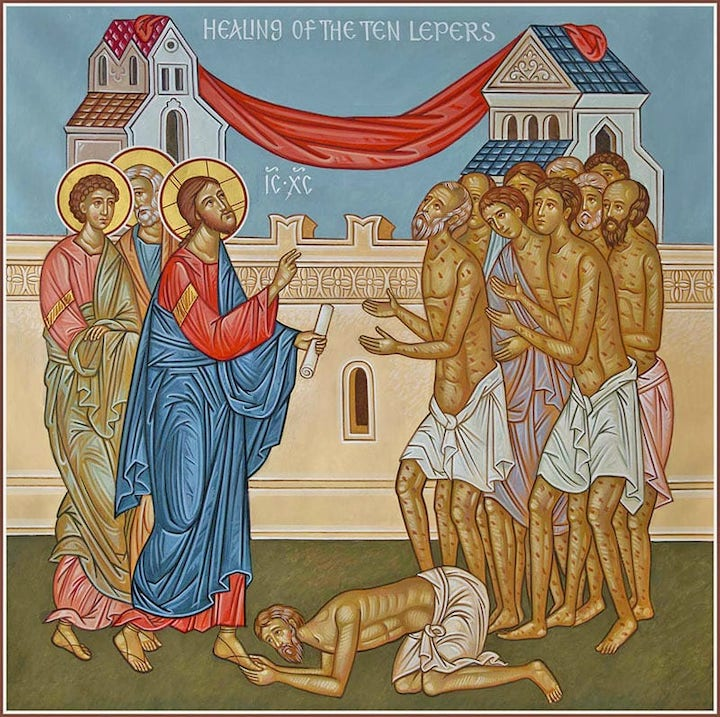 Healing of the 10 lepers depiction