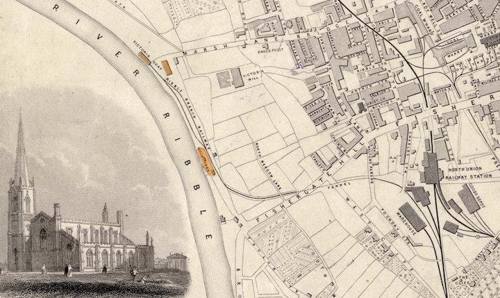 Preston in 1852 showing Victoria Quay and the dock branch Pic: Preston Digital Archive