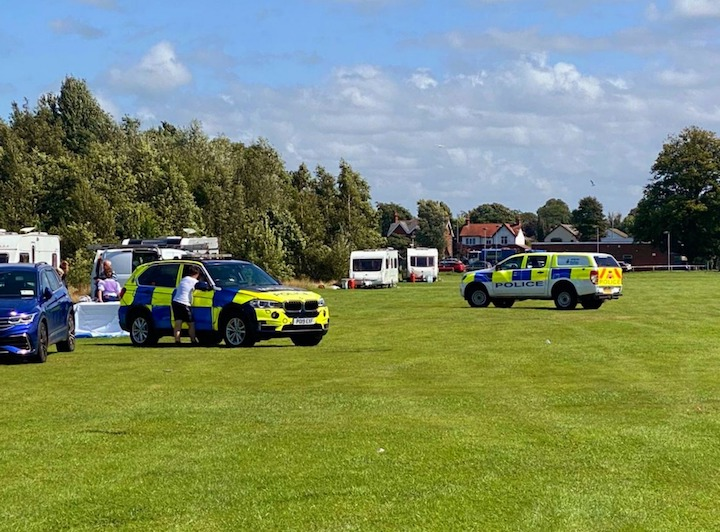 Police clearing the traveller site at Ashton Park Pic: Preston Police