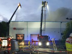 Two aerial ladder platforms were used to help control the fire Pic: LFRS