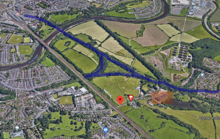 Aerial view with Penwortham Mill Pic: Google Maps