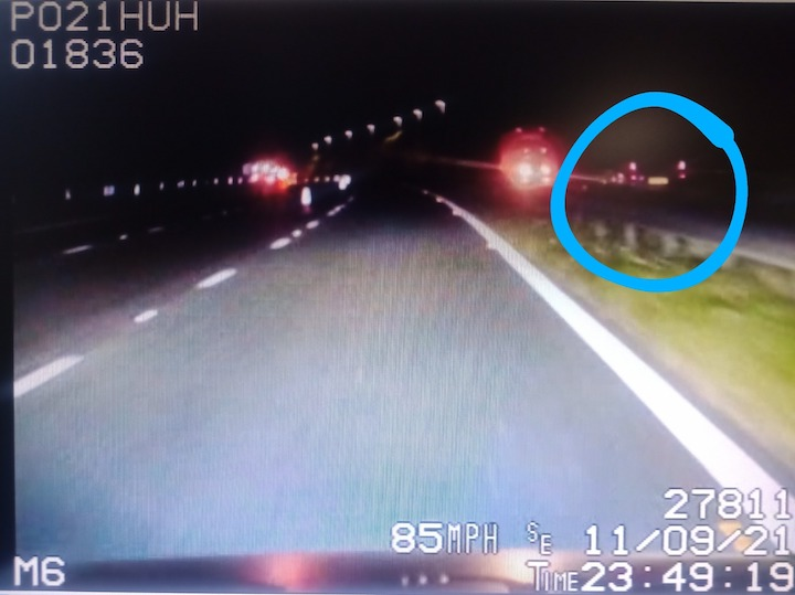 Car travelling wrong way on M6 Pic: Lancs Road Police