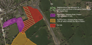 The application site (red) in relation to Broughton, James Towers Way, the neighbourhood plan allocated land (green hash) and approved schemes at Park House (purple) and Keyfold Farm (yellow) Pic: Emery Planning