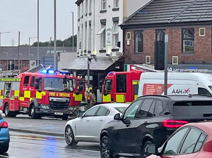 Fire engines outside Umberto Fish and Chips Pic: Ashton and PR2 Community Group
