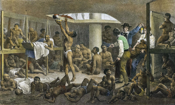 A somewhat romanticised image of a slave ship from 1830. Conditions would have been far worse