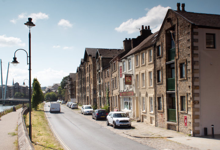 Old 18th century warehouses proliferate along the Lune in Lancaster