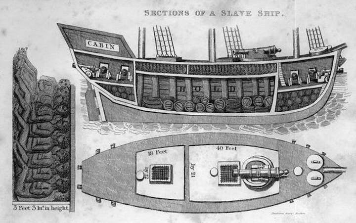 One of the smaller slave ships showing the 'mixed' cargo