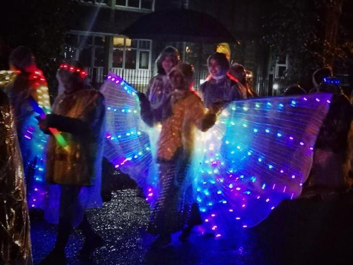 Participant dressed in light-up wings Pic: Crispin Robinson
